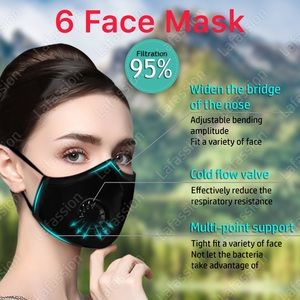 x6 Face mask for dust, outdoors festivals sports.
